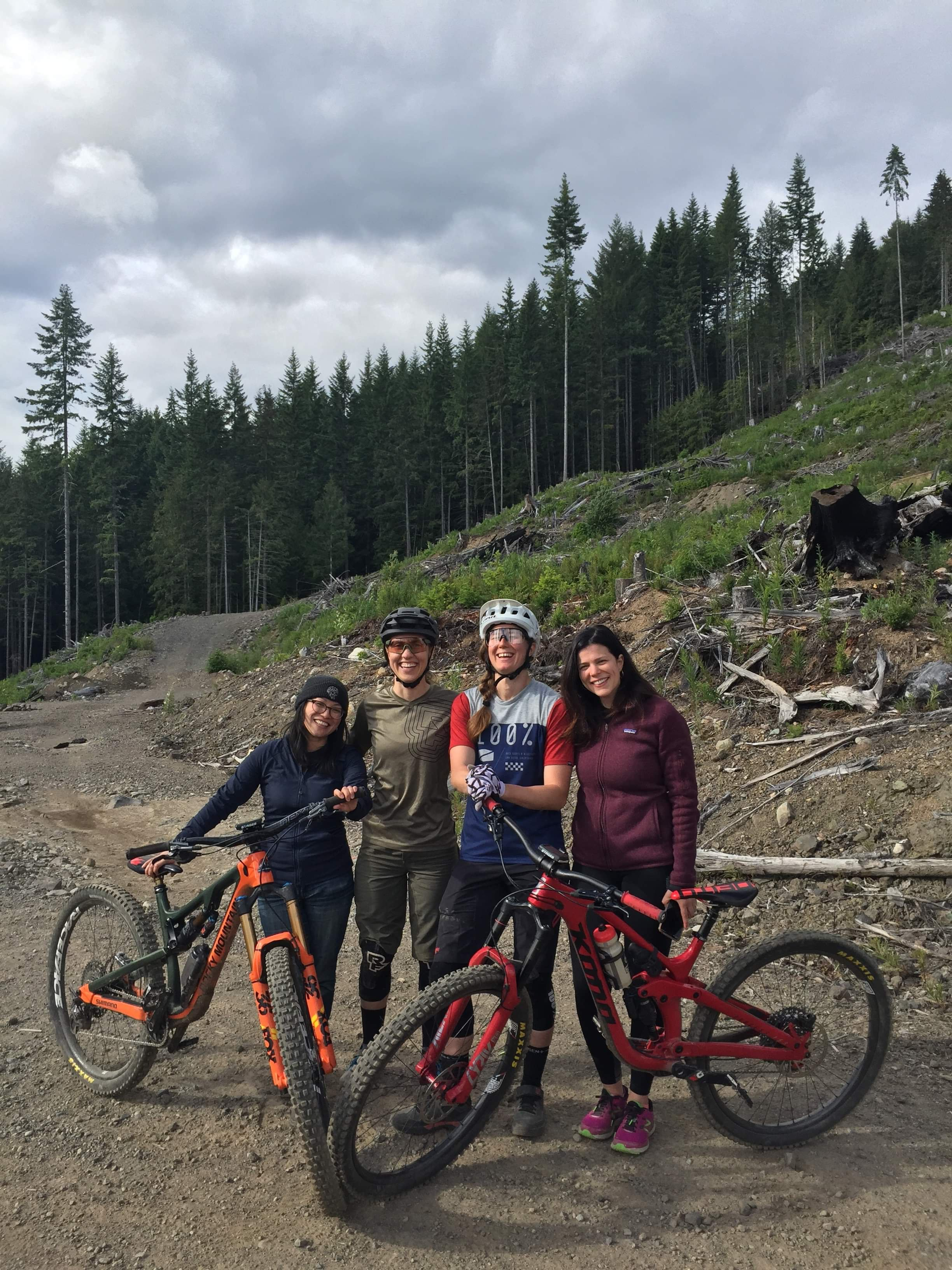 902_On Falling_Meadow of the Grizzlies Trail Pic_left to right Producer Joella Cabalu, Subject Andreane Lanthier Nadeau, Subject Miranda Miller, Director Josephine Anderson.jpeg