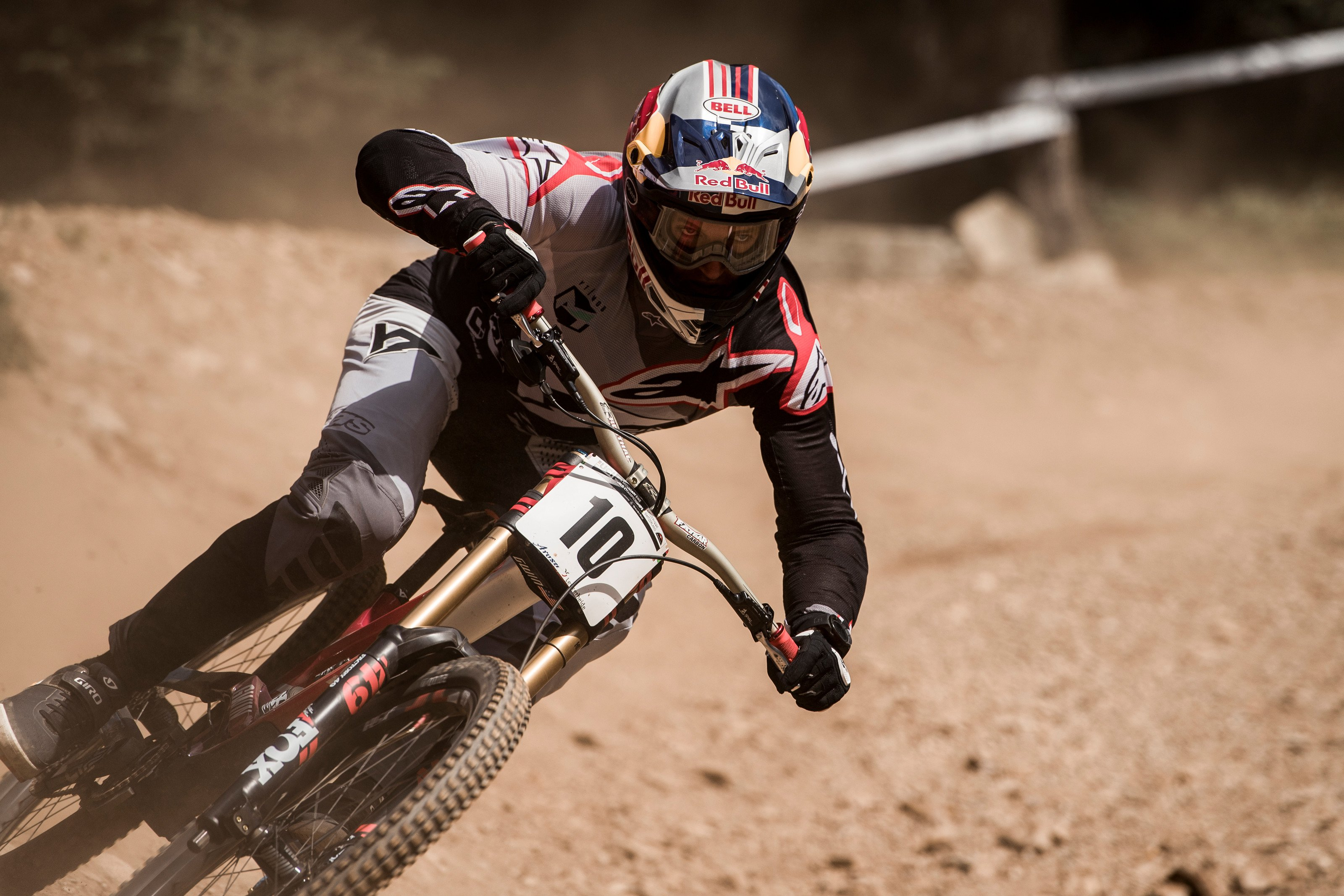 Aaron Gwin racing at the Lenzerheide DH World Championships