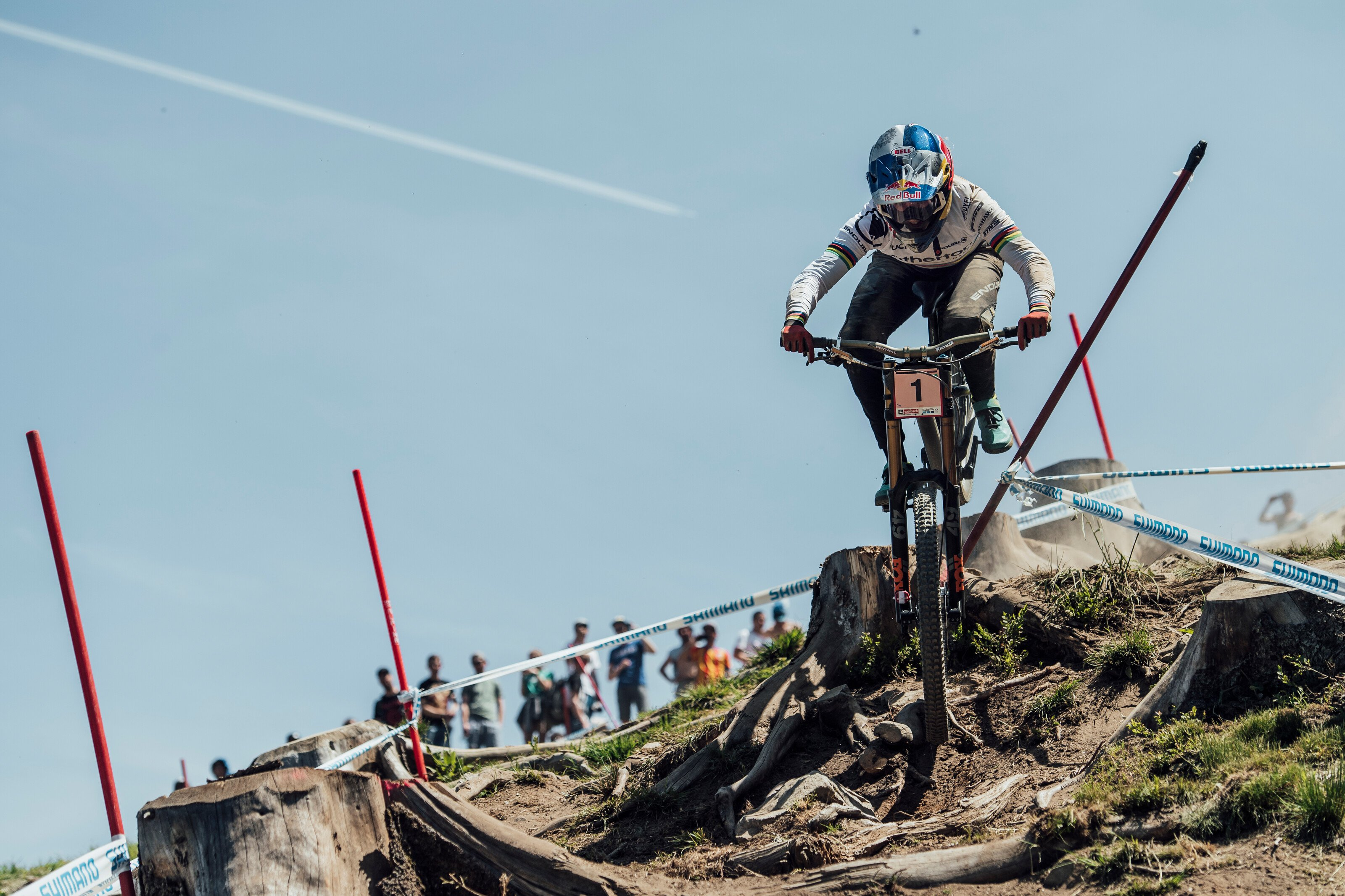 Rachel Atherton and the course marker in question