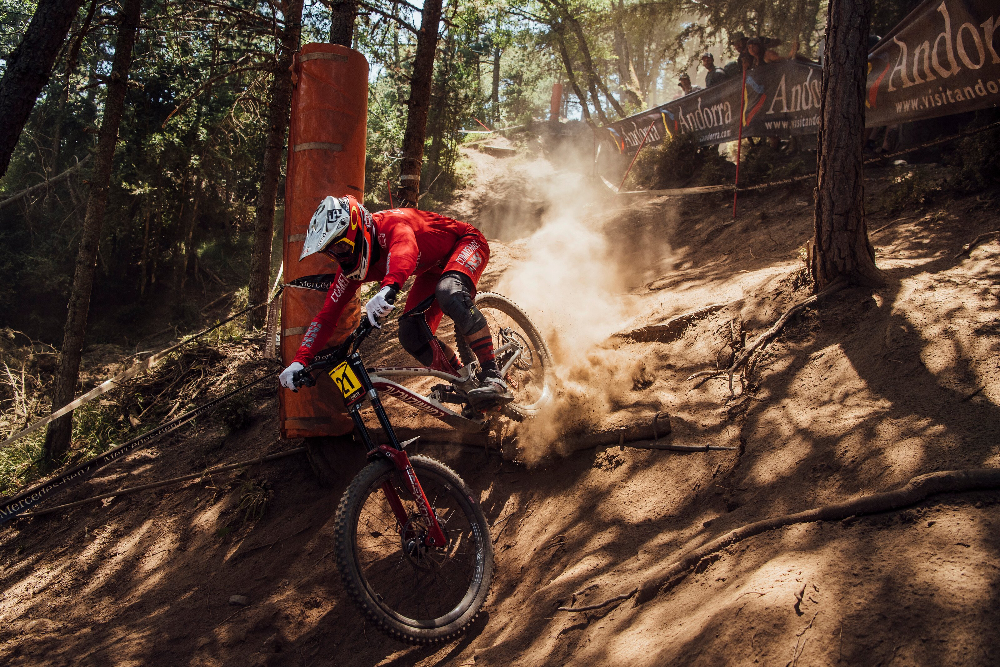 Remi Thirion shining on the Andorra DH World Cup track 2019