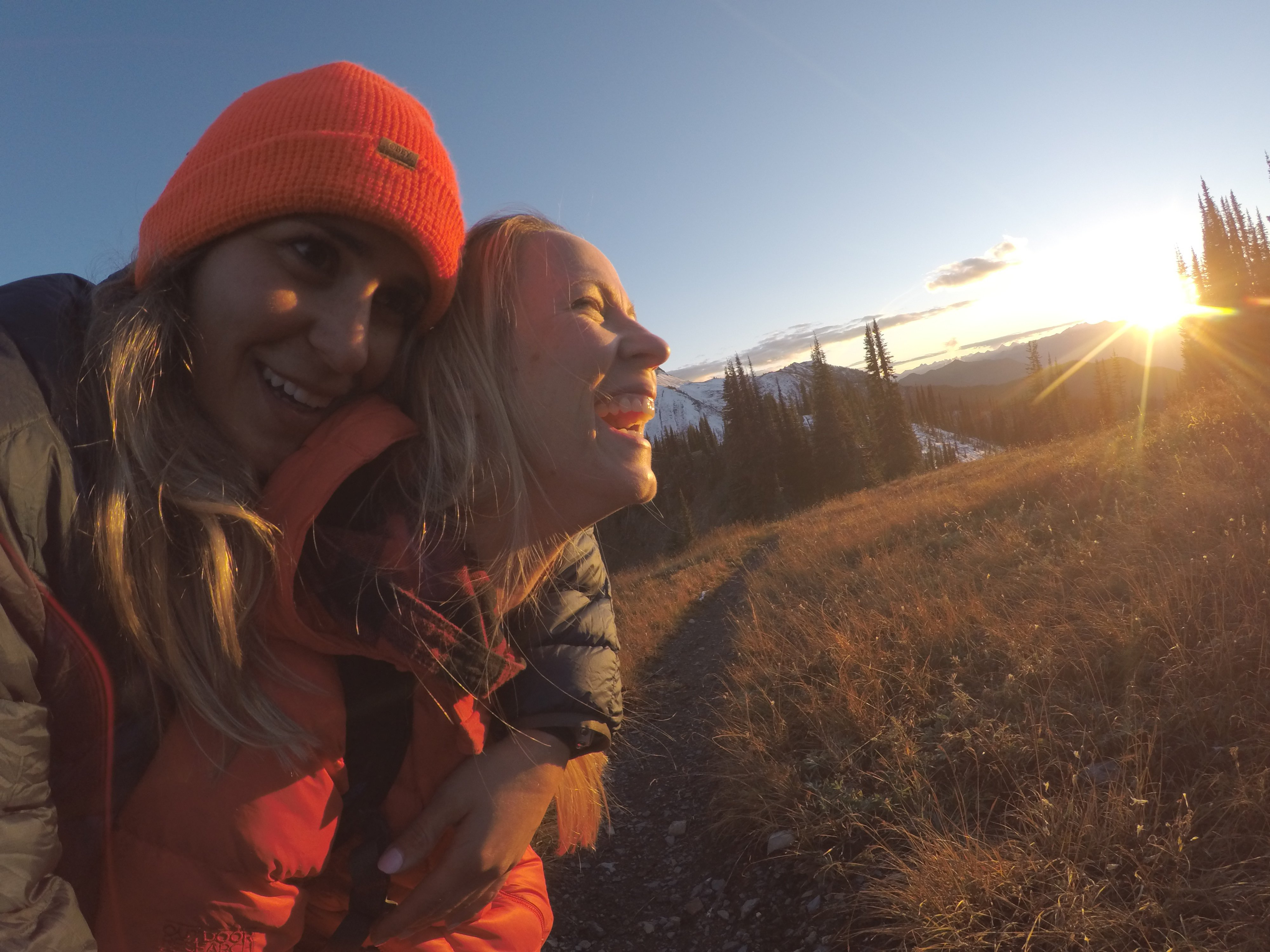 Sunrise sillys on Reco Peak with Micayla and Lacey