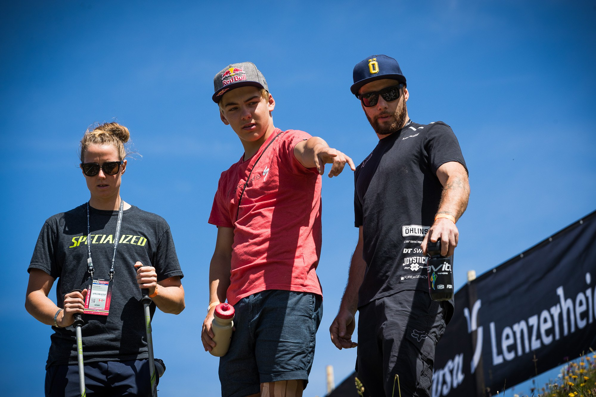 Miranda with teammate Finn Iles and mechanic Kevin Joly