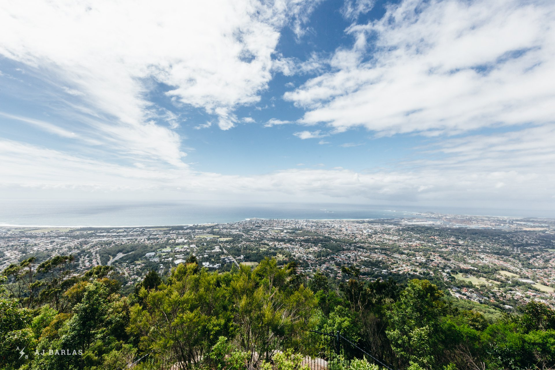 Wollongong from the top of Mount Kiera