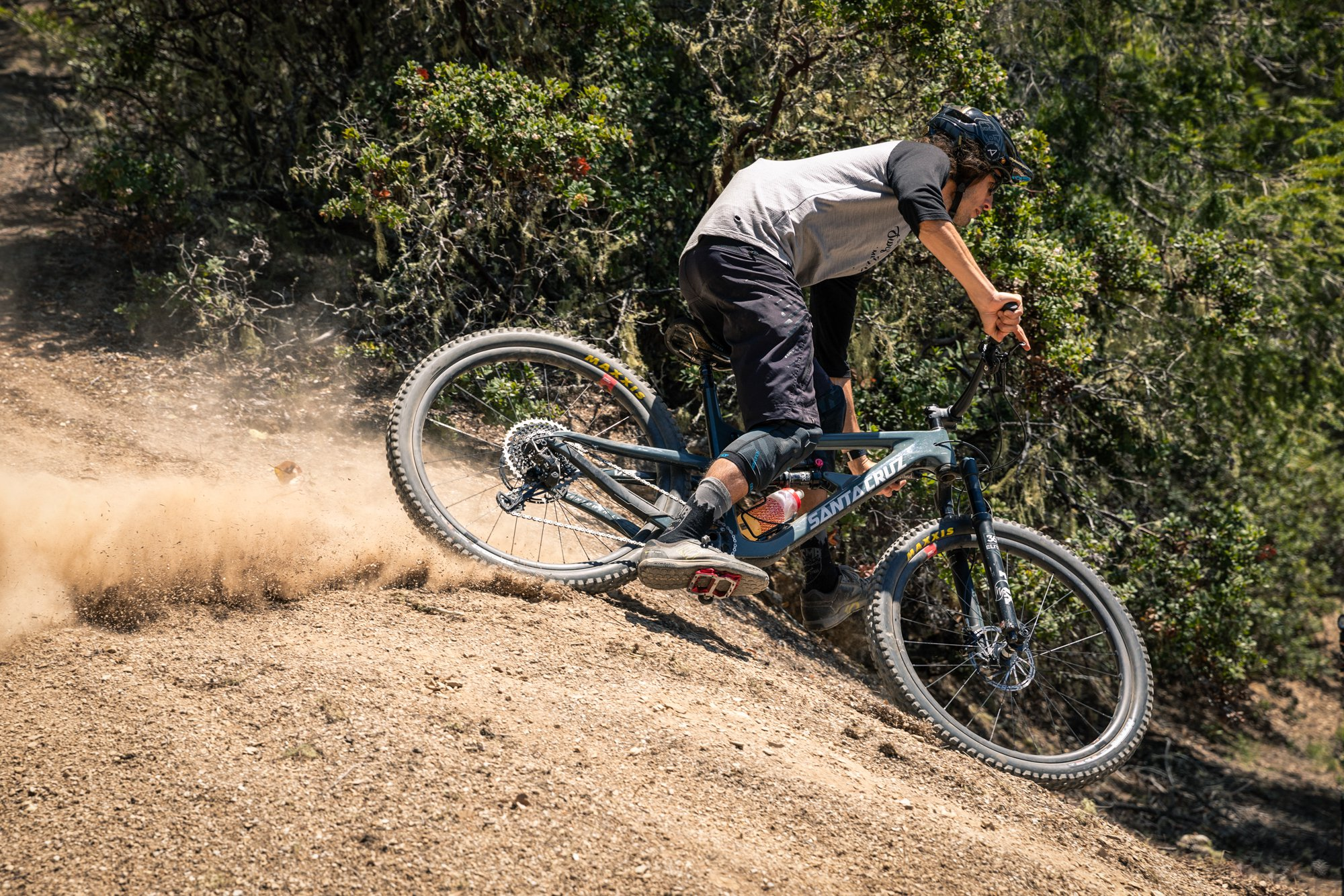 AJ sliding through loose Californian corner on the Maxxis Assegai