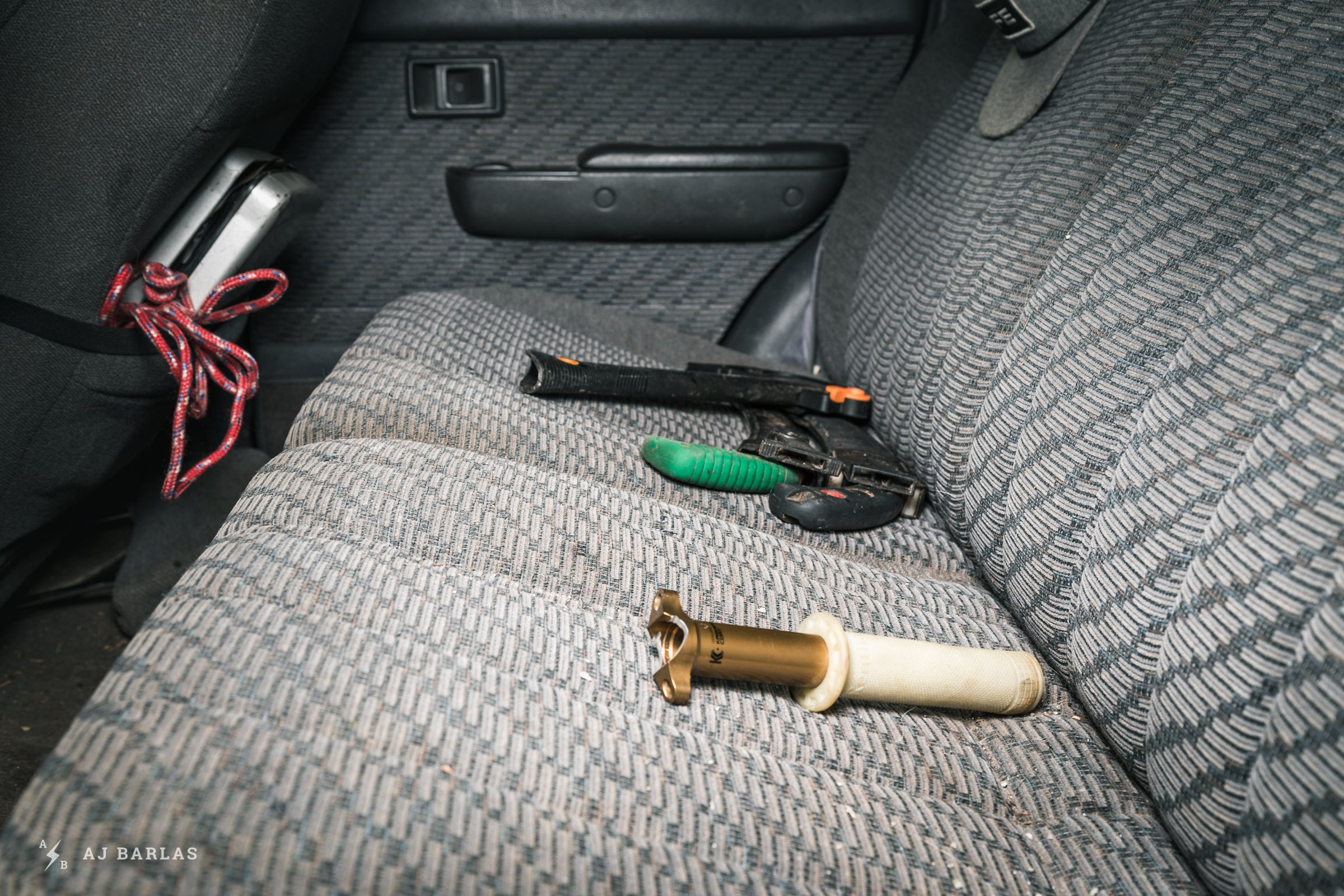 Owen Foster's Toyota 4Runner with tools in the back seat