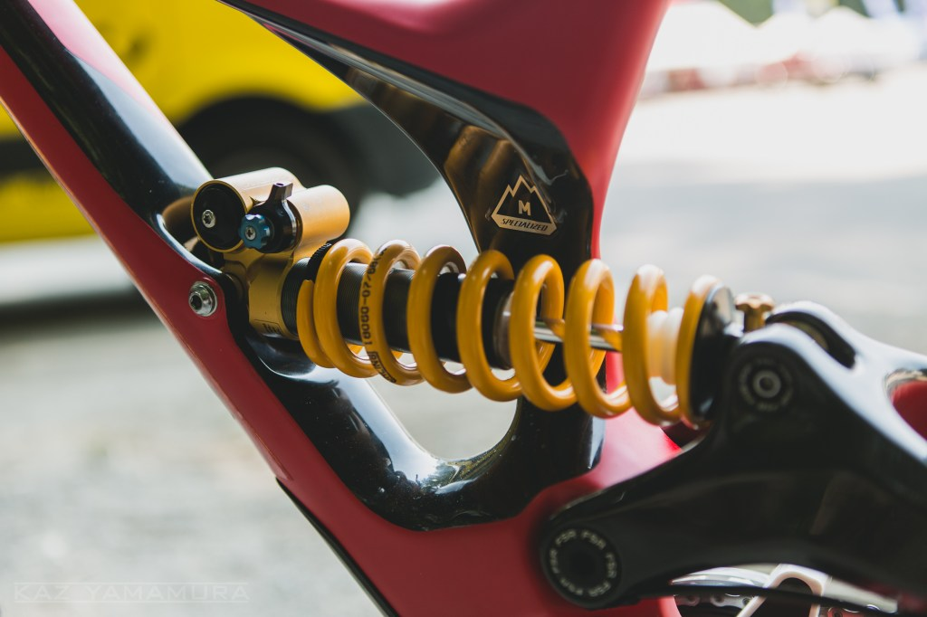 A close up of the asymmetric seat tube and Öhlins shock.