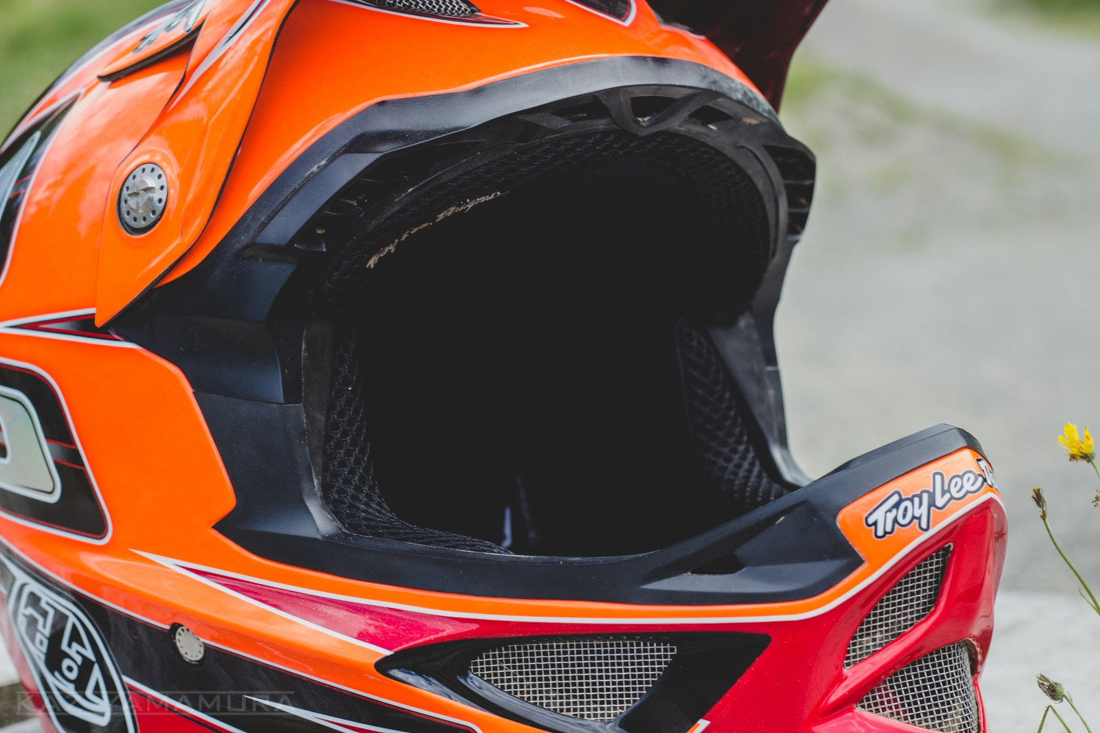 I read some complaints on the forums when Troy Lee Designs released their 2014 color ways, but I've quite liked most of the new lids in person and the 2014 D3 Speed Carbon Fiber Orange helmet seen here is no exception.