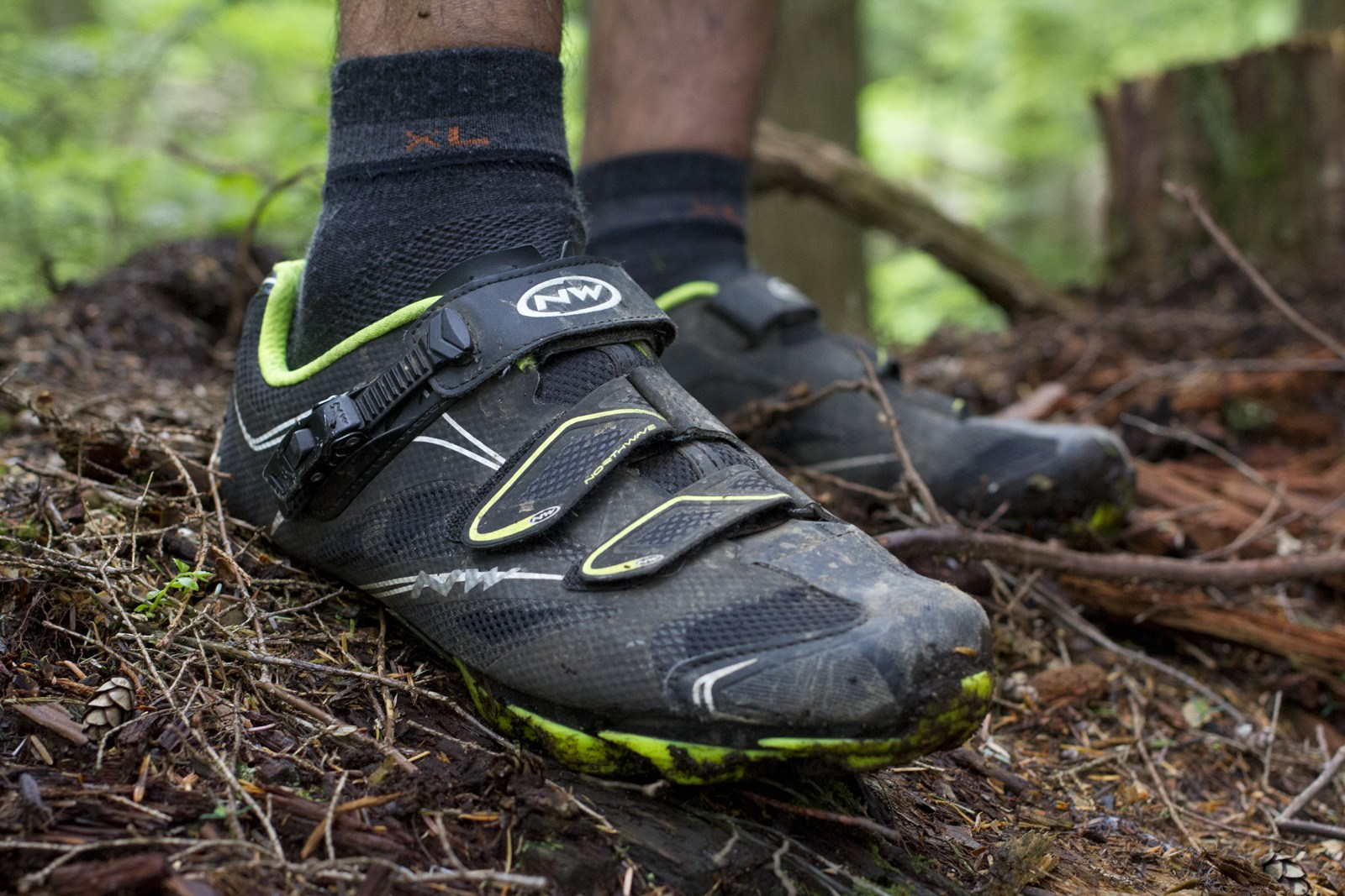 d23528f6b0f The Scorpius SRS trail shoe in black with neon green trim. If that's not  flashy enough for you, it also comes in white, red and orange.