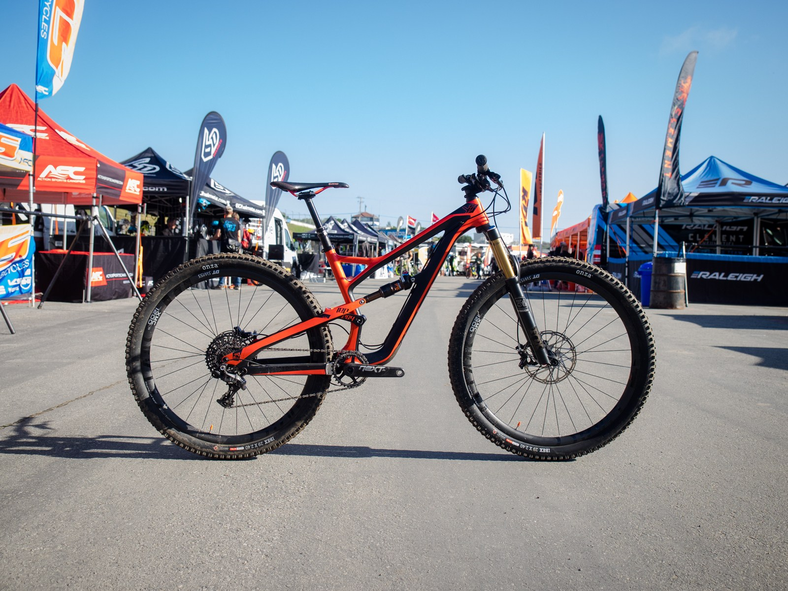 YT's new 29'r trail machine was much in demand the first day of Sea Otter. On Day 2, we got there just as the festival was waking up and were able to get some alone time with Jeffsy.