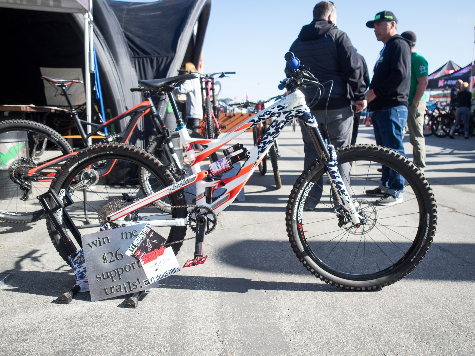 Cam Zink's red, white and blue bike that debuted at Crankworx last year in Whistler was up fro auction to support the local Norcal trails.
