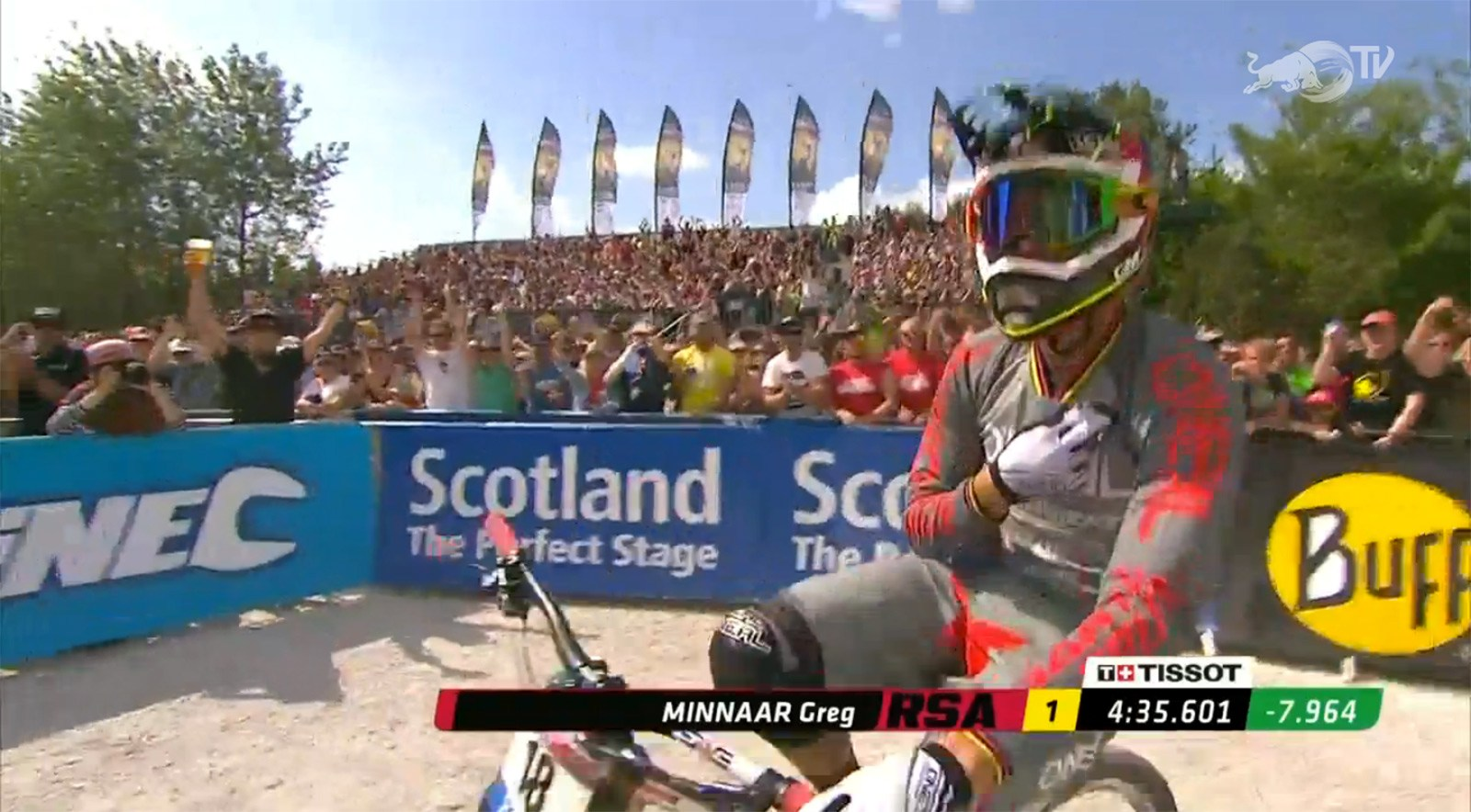 Greg Minnaar crossed the line with a huge gap, after starting way back in the field.
