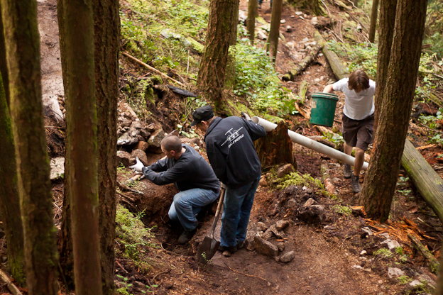 dale's trail, TAP trail day, nsmb.com, nsmba, trail work, maintenance, digger, mountain bike trails, north shore